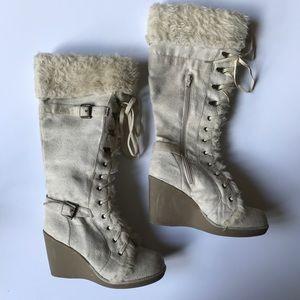 {Host Pick} Bamboo Wedge Faux Fur Trimmed Boots
